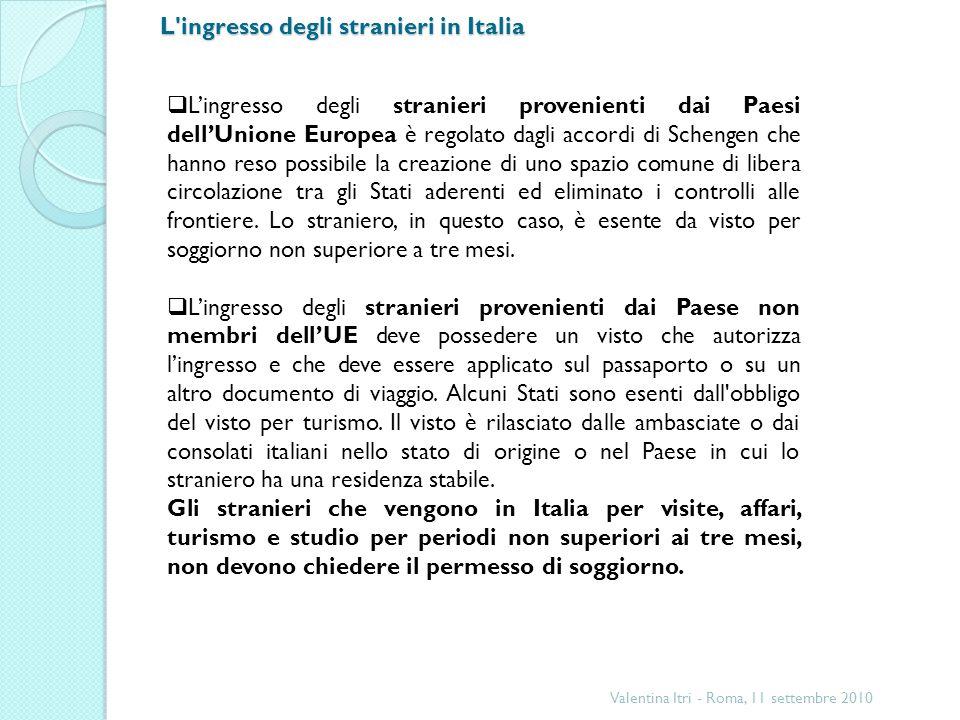 L ingresso degli stranieri in Italia