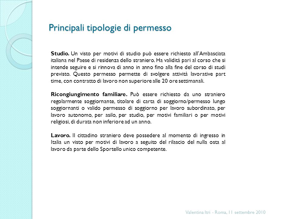 Principali tipologie di permesso