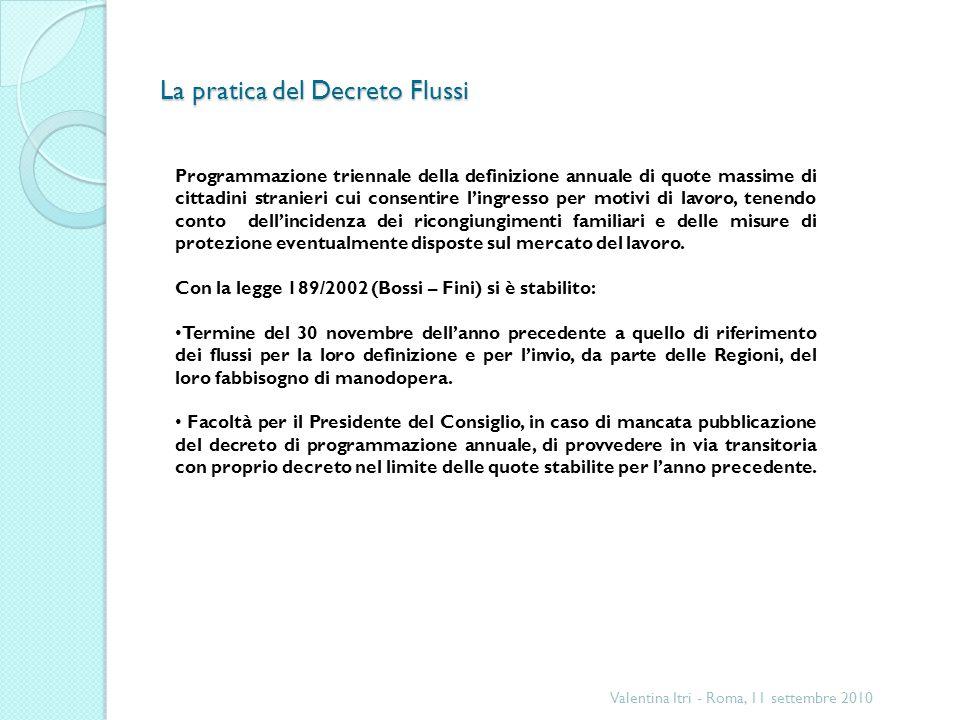 La pratica del Decreto Flussi