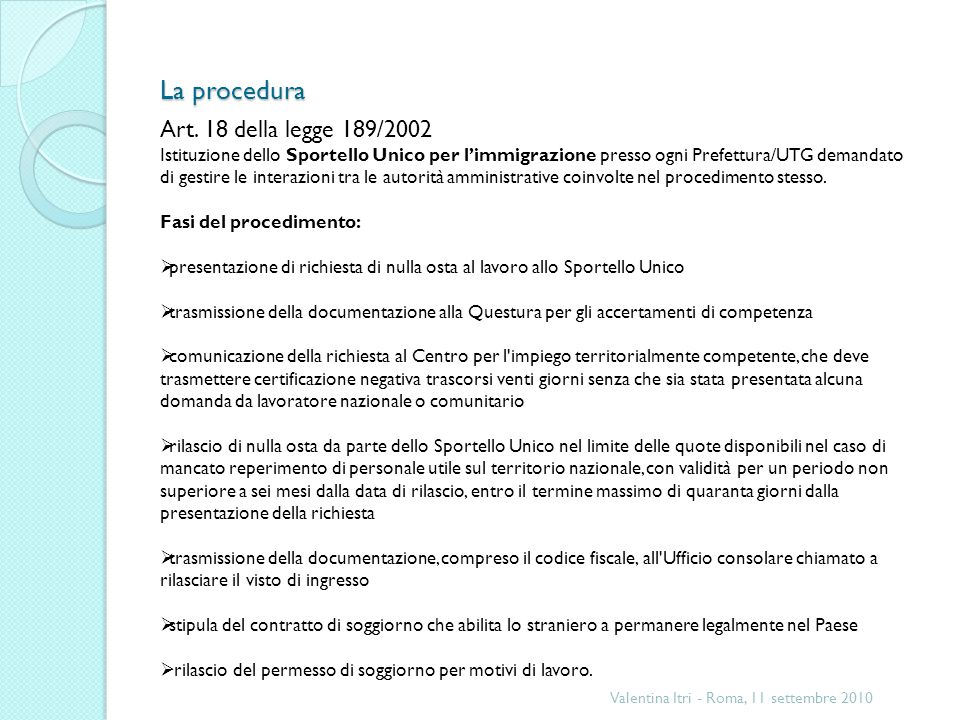 La procedura Art. 18 della legge 189/2002