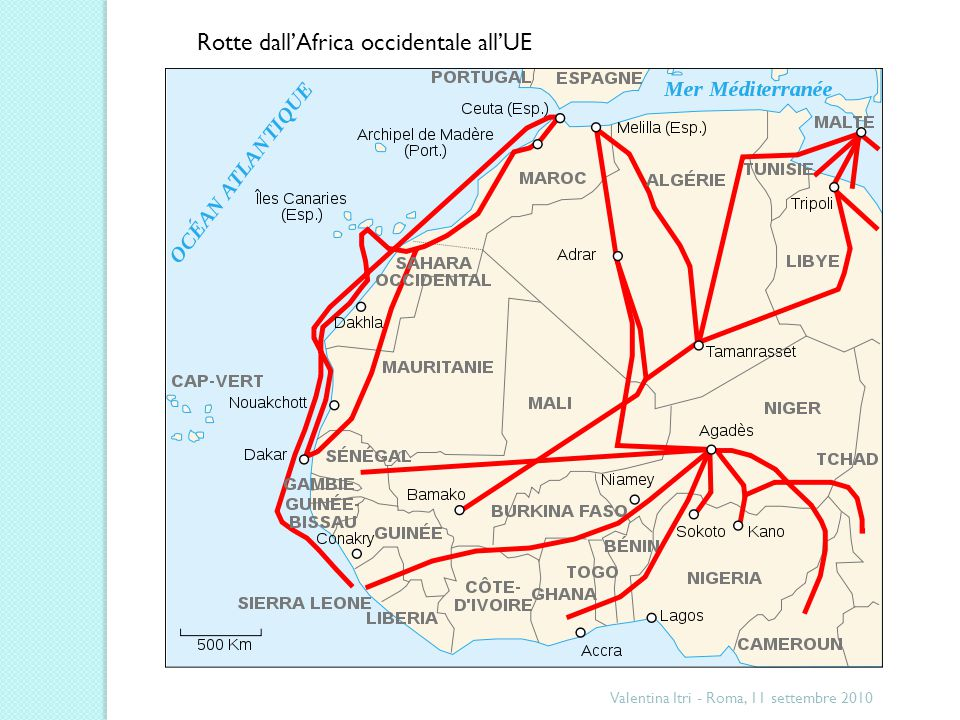 Rotte dall'Africa occidentale all'UE