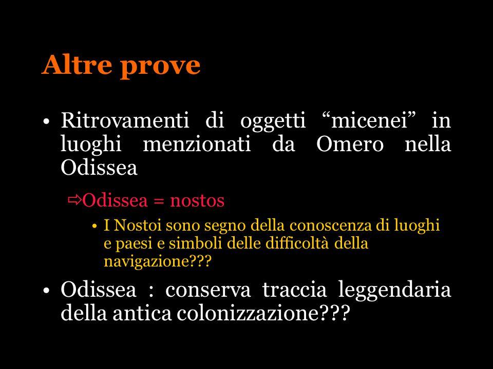 Altre prove Ritrovamenti di oggetti micenei in luoghi menzionati da Omero nella Odissea. Odissea = nostos.