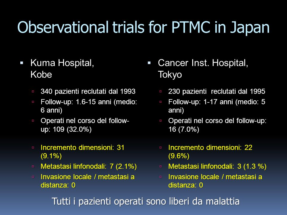Observational trials for PTMC in Japan