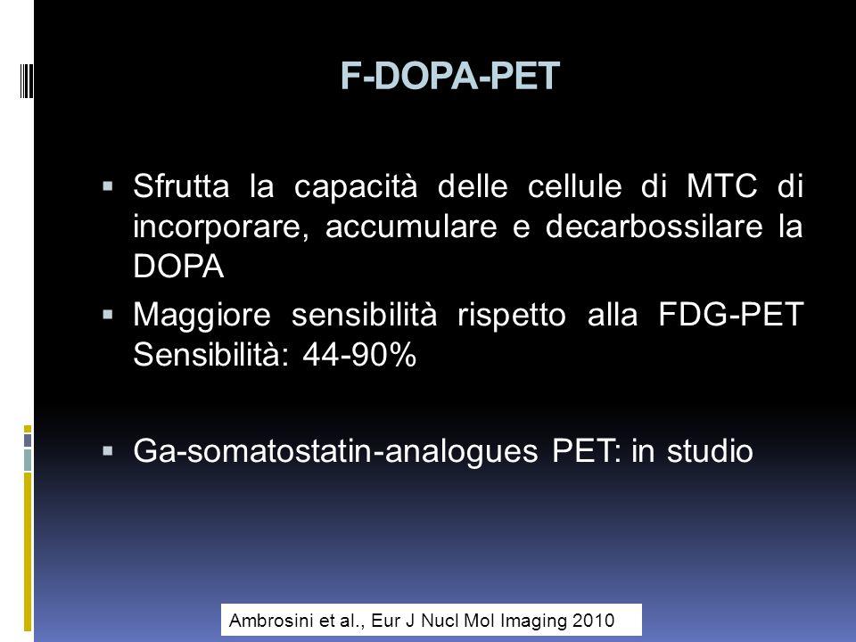 F-DOPA-PET Sfrutta la capacità delle cellule di MTC di incorporare, accumulare e decarbossilare la DOPA.