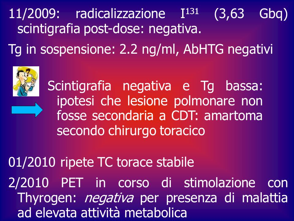 Tg in sospensione: 2.2 ng/ml, AbHTG negativi