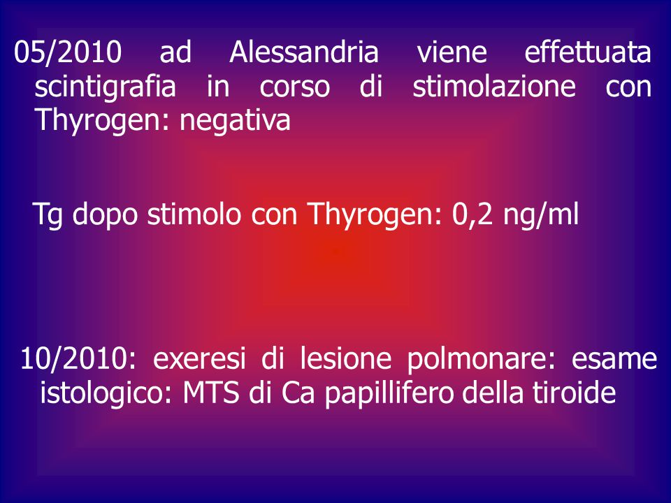 05/2010 ad Alessandria viene effettuata scintigrafia in corso di stimolazione con Thyrogen: negativa