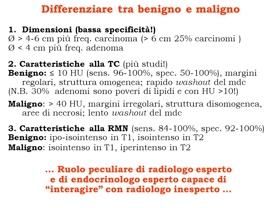 Differenziare tra benigno e maligno