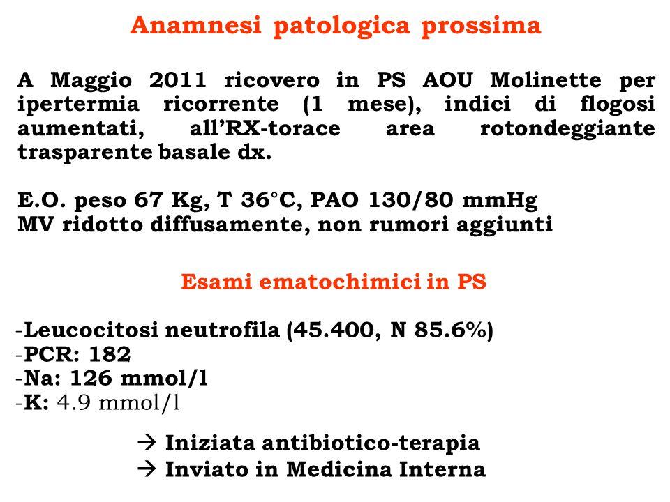 Anamnesi patologica prossima Esami ematochimici in PS