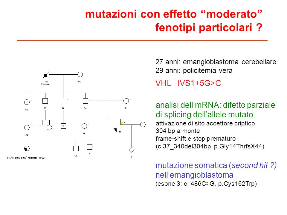 mutazioni con effetto moderato fenotipi particolari