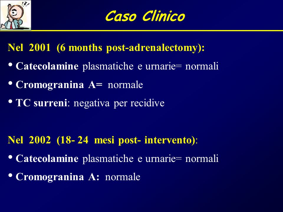 Caso Clinico Nel 2001 (6 months post-adrenalectomy):