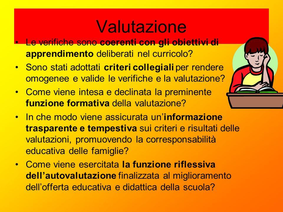 Valutazione Le verifiche sono coerenti con gli obiettivi di apprendimento deliberati nel curricolo