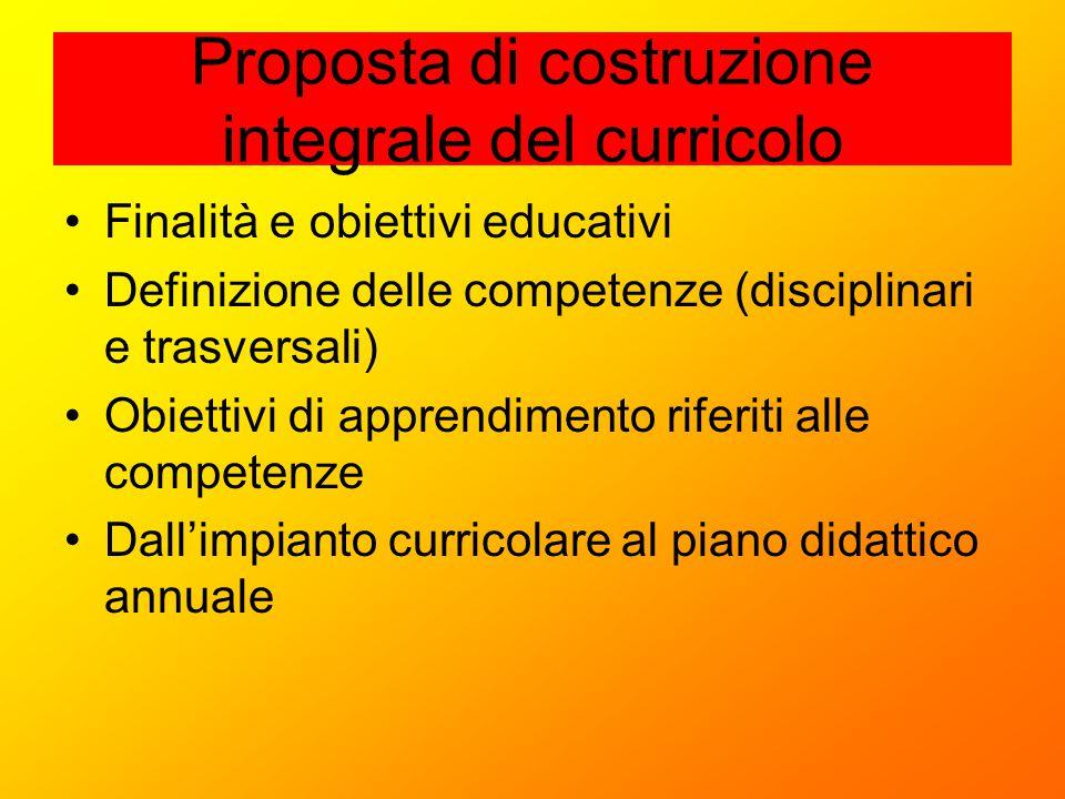 Proposta di costruzione integrale del curricolo