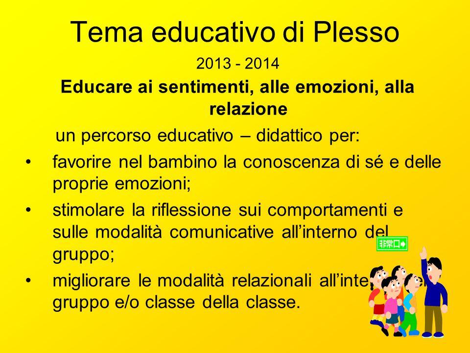 Tema educativo di Plesso 2013 - 2014