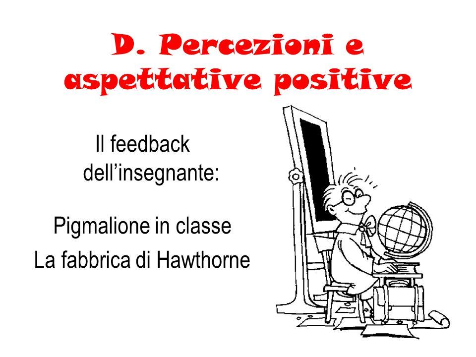 D. Percezioni e aspettative positive