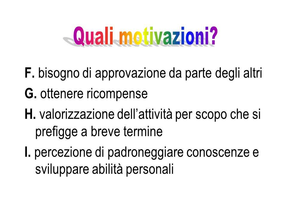 Quali motivazioni F. bisogno di approvazione da parte degli altri. G. ottenere ricompense.