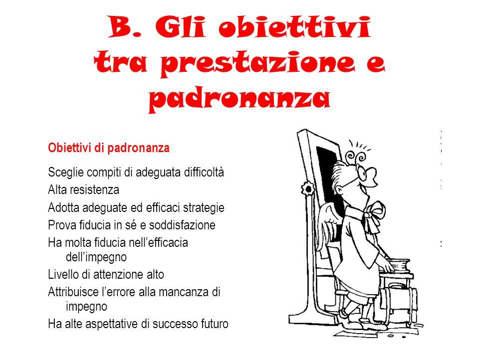 B. Gli obiettivi tra prestazione e padronanza