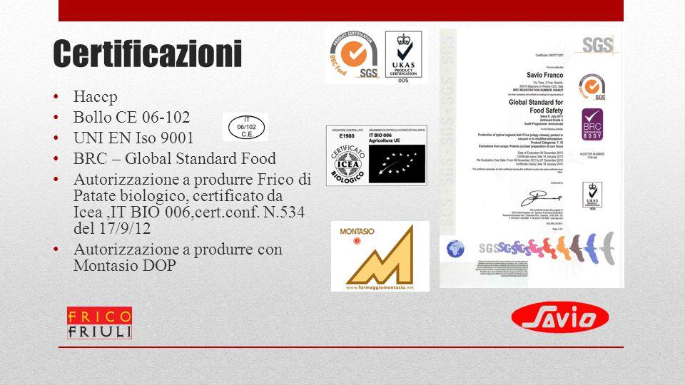 Certificazioni Haccp Bollo CE 06-102 UNI EN Iso 9001