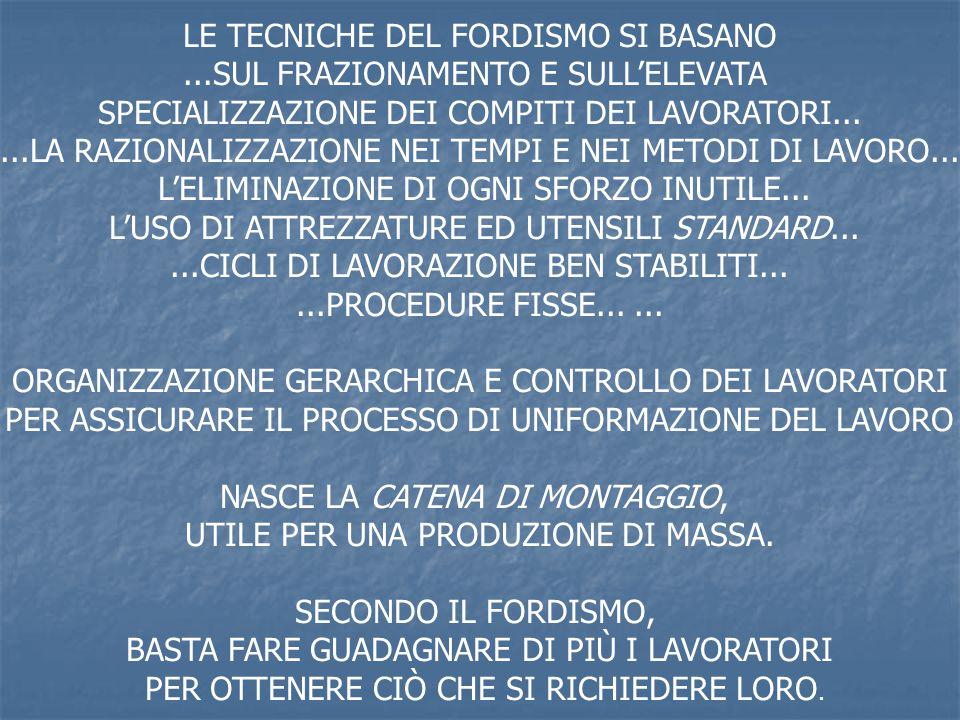 LE TECNICHE DEL FORDISMO SI BASANO ...SUL FRAZIONAMENTO E SULL'ELEVATA