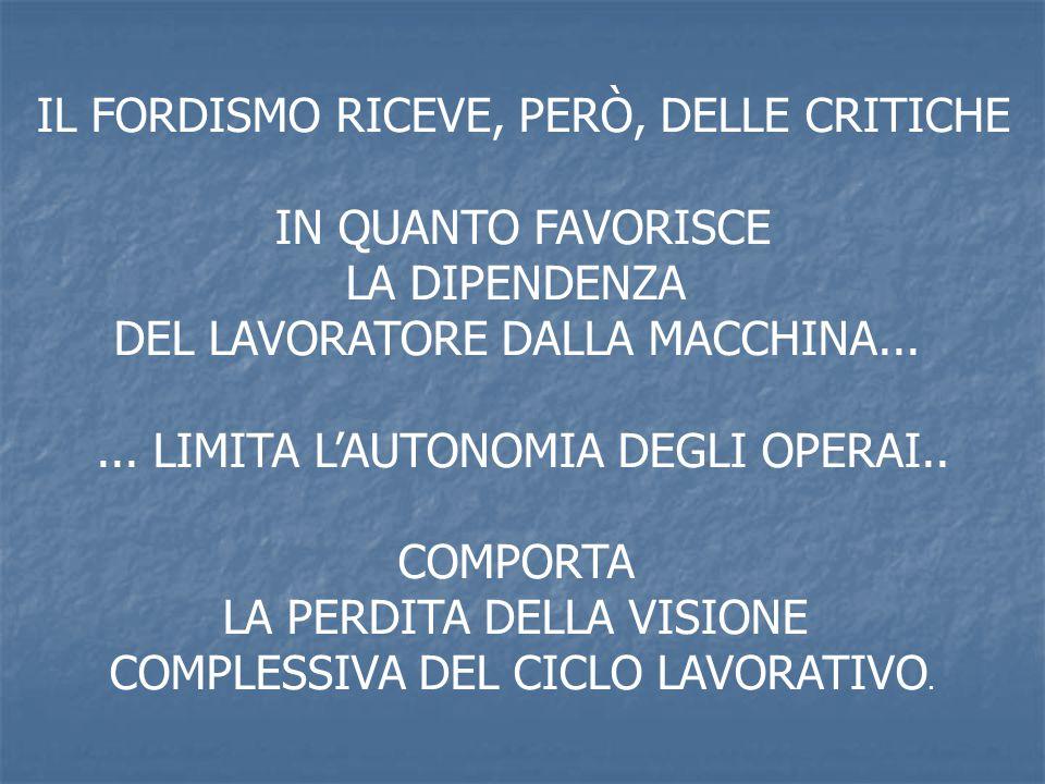 IL FORDISMO RICEVE, PERÒ, DELLE CRITICHE IN QUANTO FAVORISCE