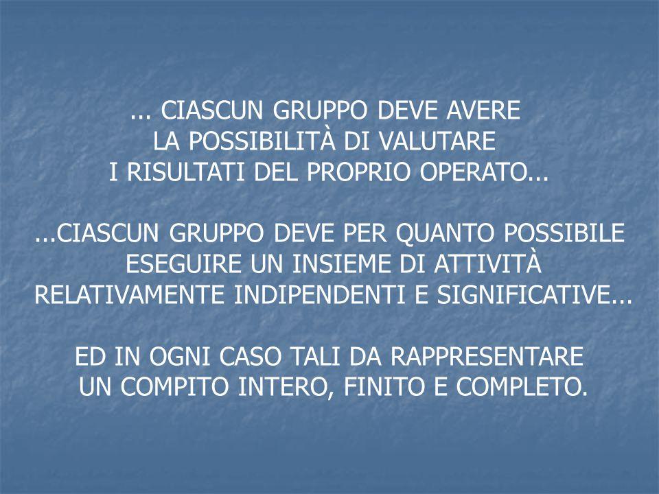 ... CIASCUN GRUPPO DEVE AVERE LA POSSIBILITÀ DI VALUTARE