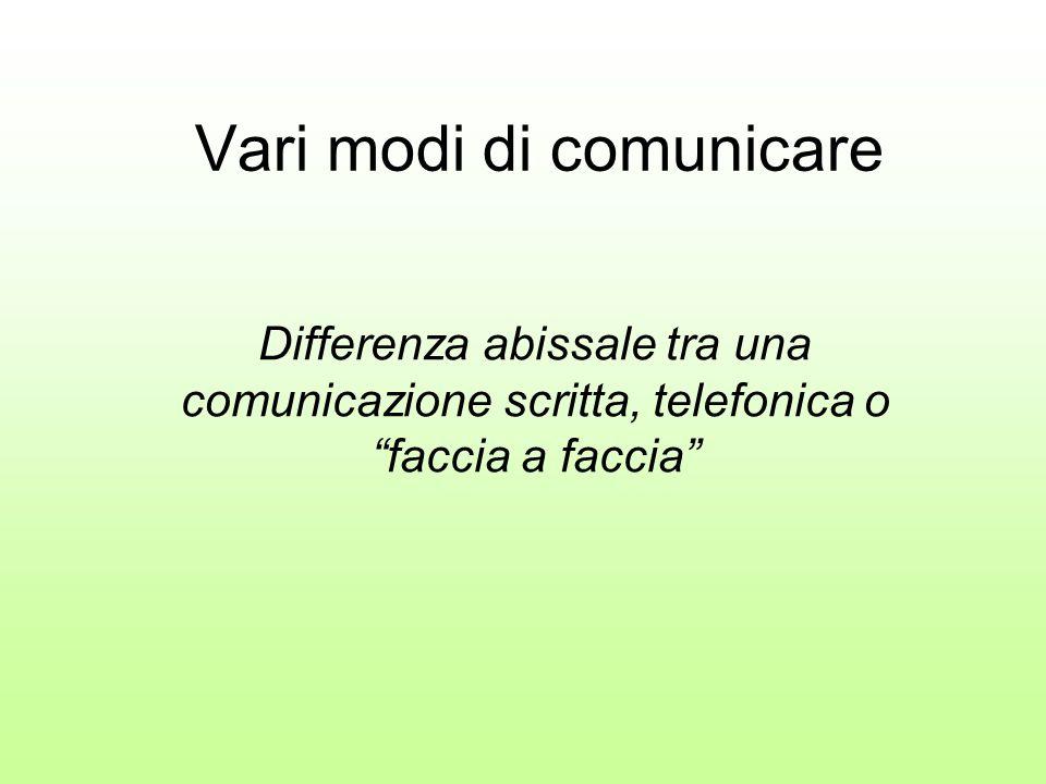 Vari modi di comunicare