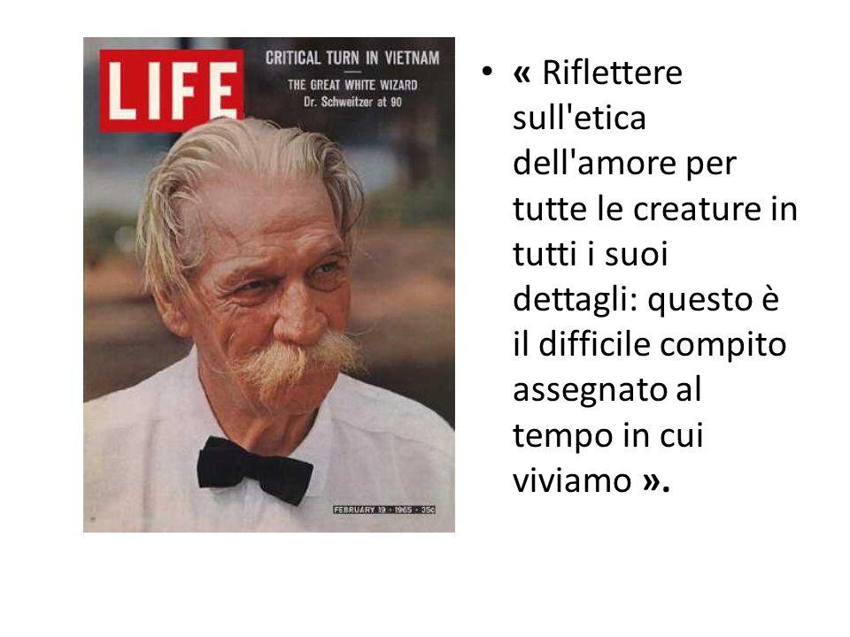 « Riflettere sull etica dell amore per tutte le creature in tutti i suoi dettagli: questo è il difficile compito assegnato al tempo in cui viviamo ».