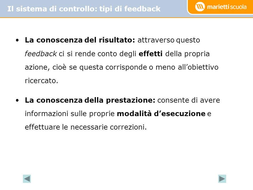 Il sistema di controllo: tipi di feedback