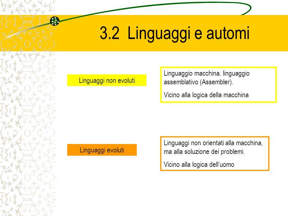 3.2 Linguaggi e automi Linguaggio macchina, linguaggio assemblativo (Assembler). Vicino alla logica della macchina.