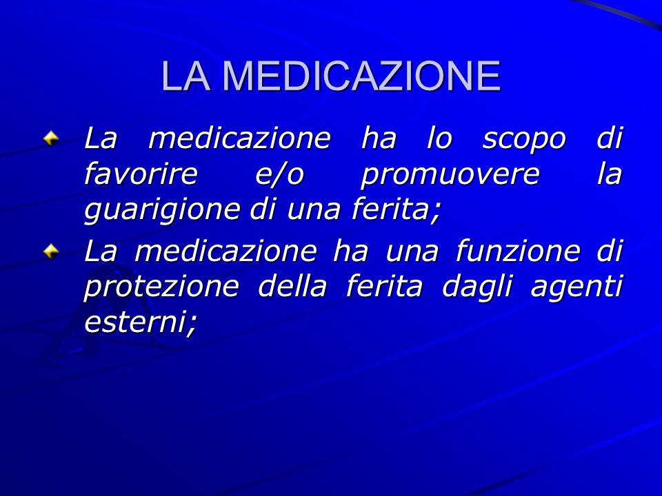 LA MEDICAZIONE La medicazione ha lo scopo di favorire e/o promuovere la guarigione di una ferita;