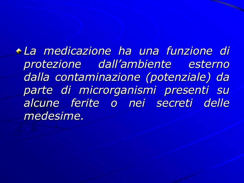 La medicazione ha una funzione di protezione dall'ambiente esterno dalla contaminazione (potenziale) da parte di microrganismi presenti su alcune ferite o nei secreti delle medesime.