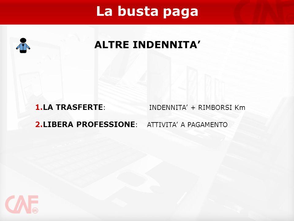 La busta paga ALTRE INDENNITA' LA TRASFERTE: INDENNITA' + RIMBORSI Km