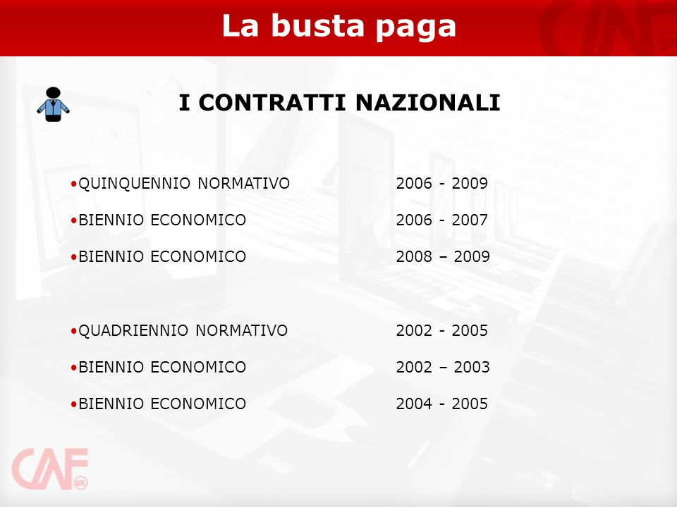 La busta paga I CONTRATTI NAZIONALI QUINQUENNIO NORMATIVO 2006 - 2009