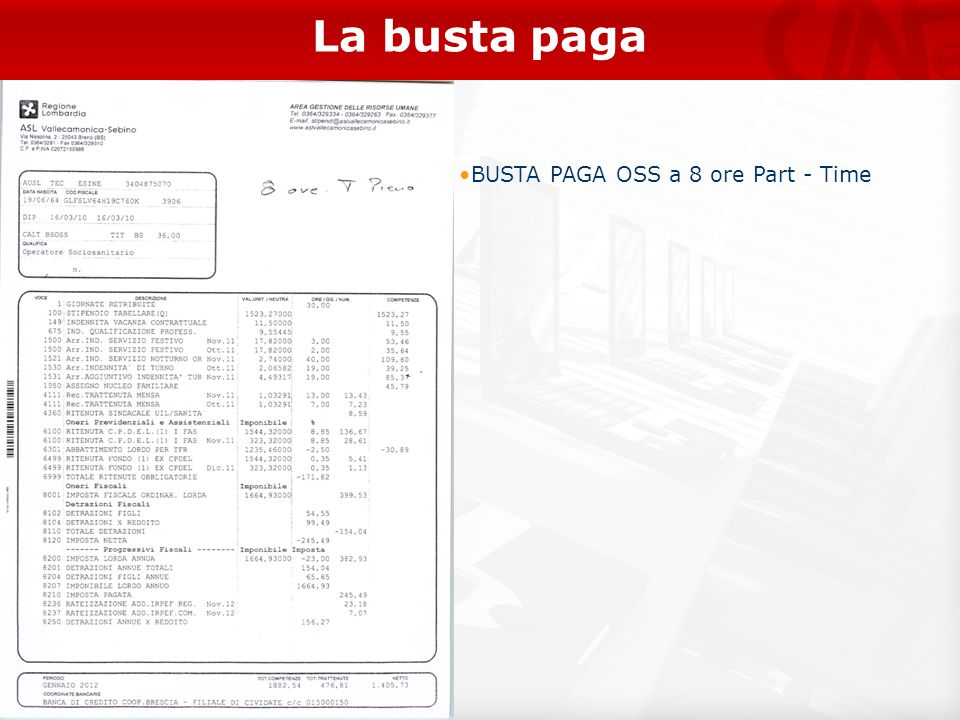 La busta paga BUSTA PAGA OSS a 8 ore Part - Time 19
