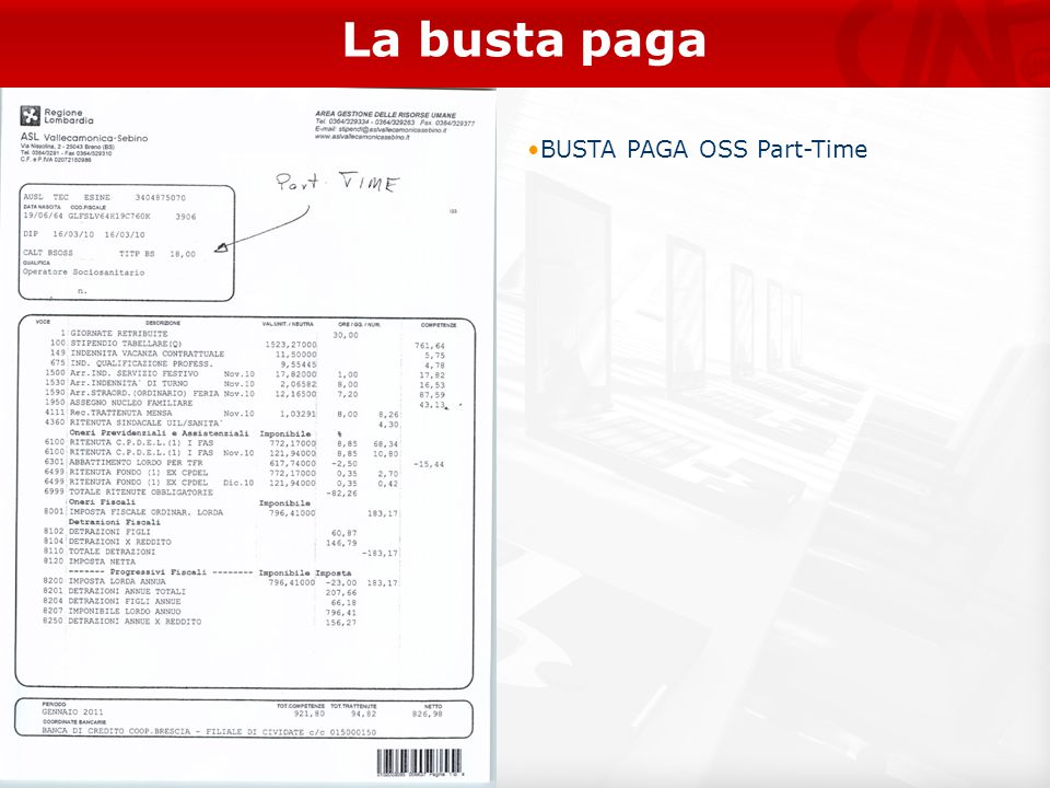 La busta paga BUSTA PAGA OSS Part-Time 21