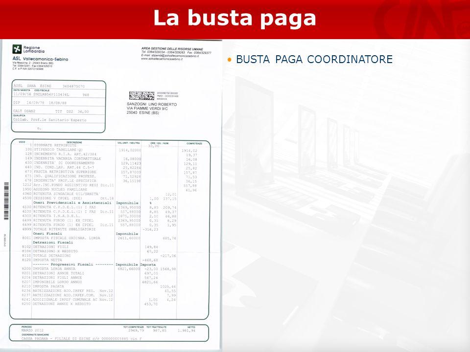 La busta paga BUSTA PAGA COORDINATORE 22