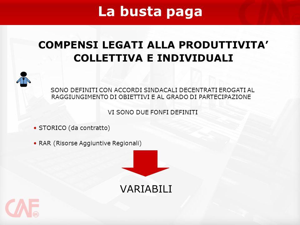 COMPENSI LEGATI ALLA PRODUTTIVITA' COLLETTIVA E INDIVIDUALI