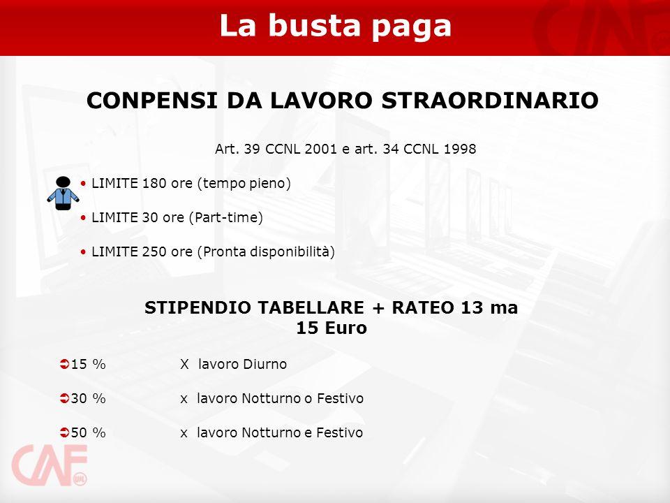 CONPENSI DA LAVORO STRAORDINARIO STIPENDIO TABELLARE + RATEO 13 ma