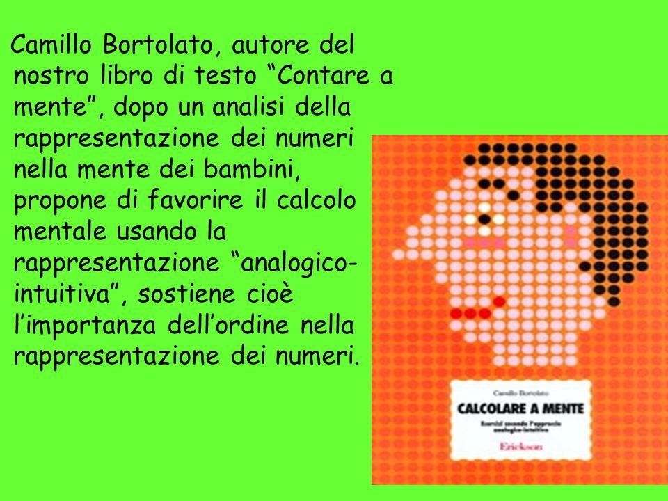 Camillo Bortolato, autore del nostro libro di testo Contare a mente , dopo un analisi della rappresentazione dei numeri nella mente dei bambini, propone di favorire il calcolo mentale usando la rappresentazione analogico-intuitiva , sostiene cioè l'importanza dell'ordine nella rappresentazione dei numeri.