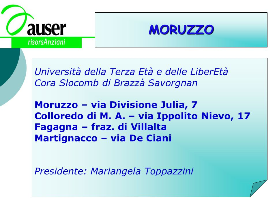 MORUZZO Università della Terza Età e delle LiberEtà