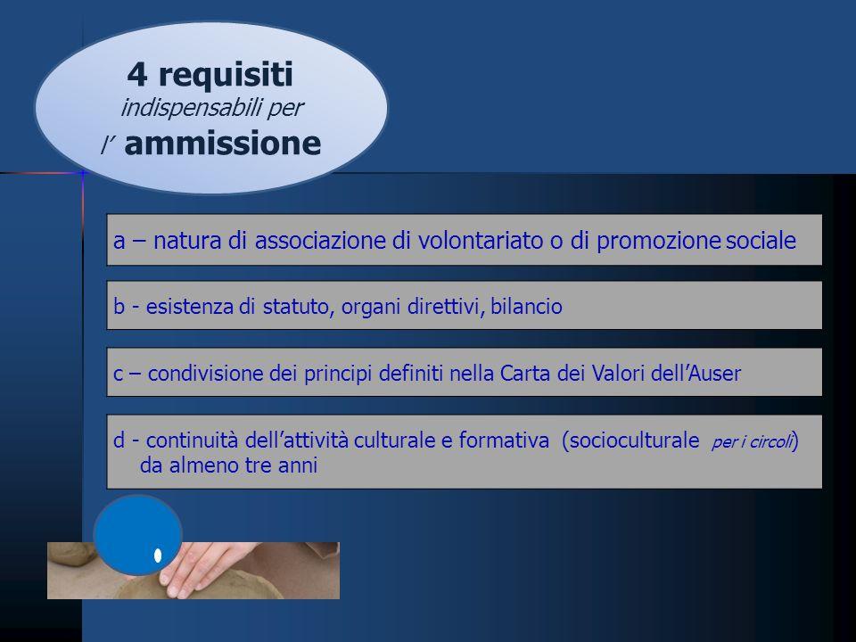 4 requisiti indispensabili per l' ammissione