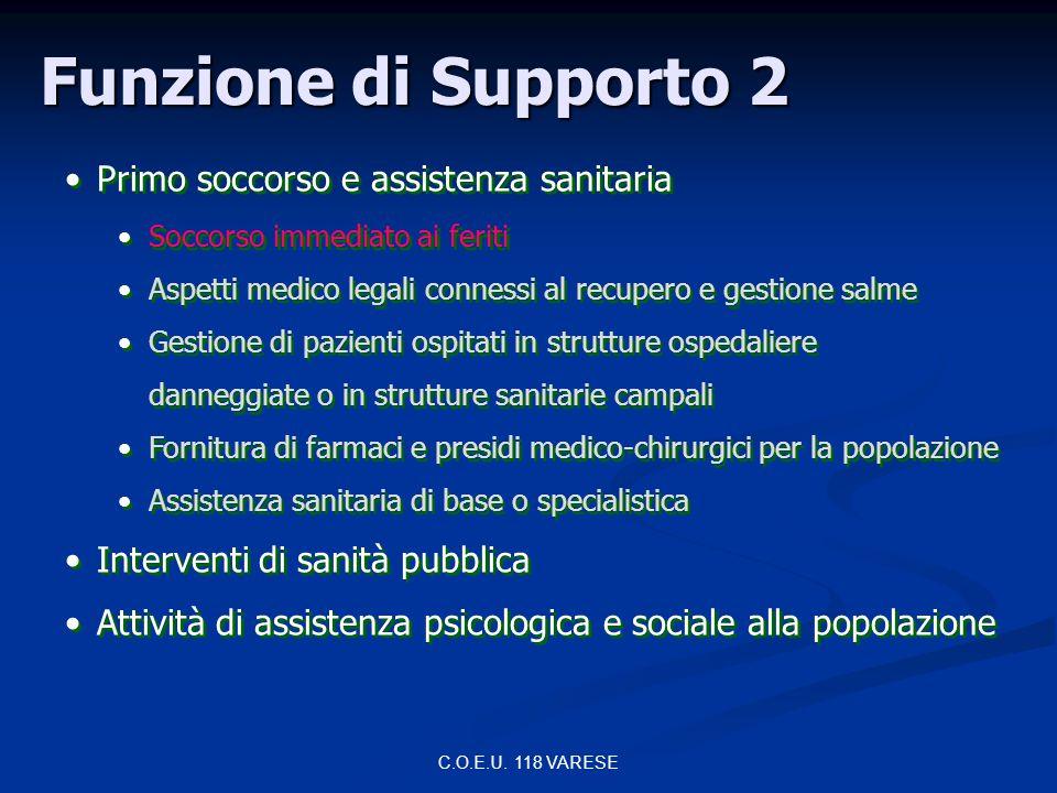 Funzione di Supporto 2 Primo soccorso e assistenza sanitaria