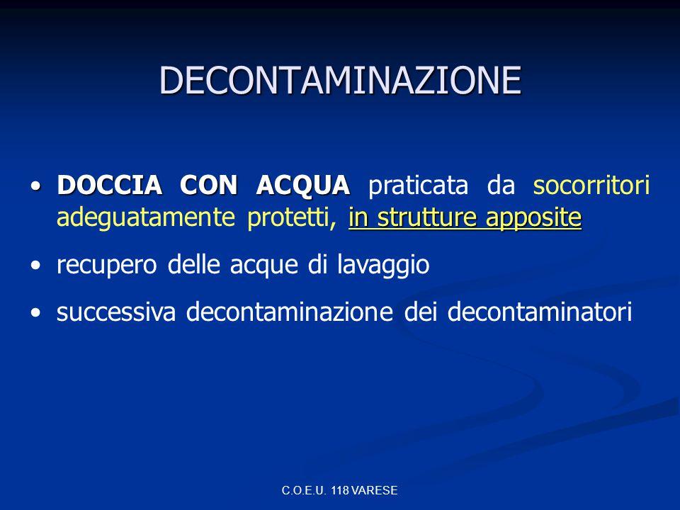 DECONTAMINAZIONE DOCCIA CON ACQUA praticata da socorritori adeguatamente protetti, in strutture apposite.