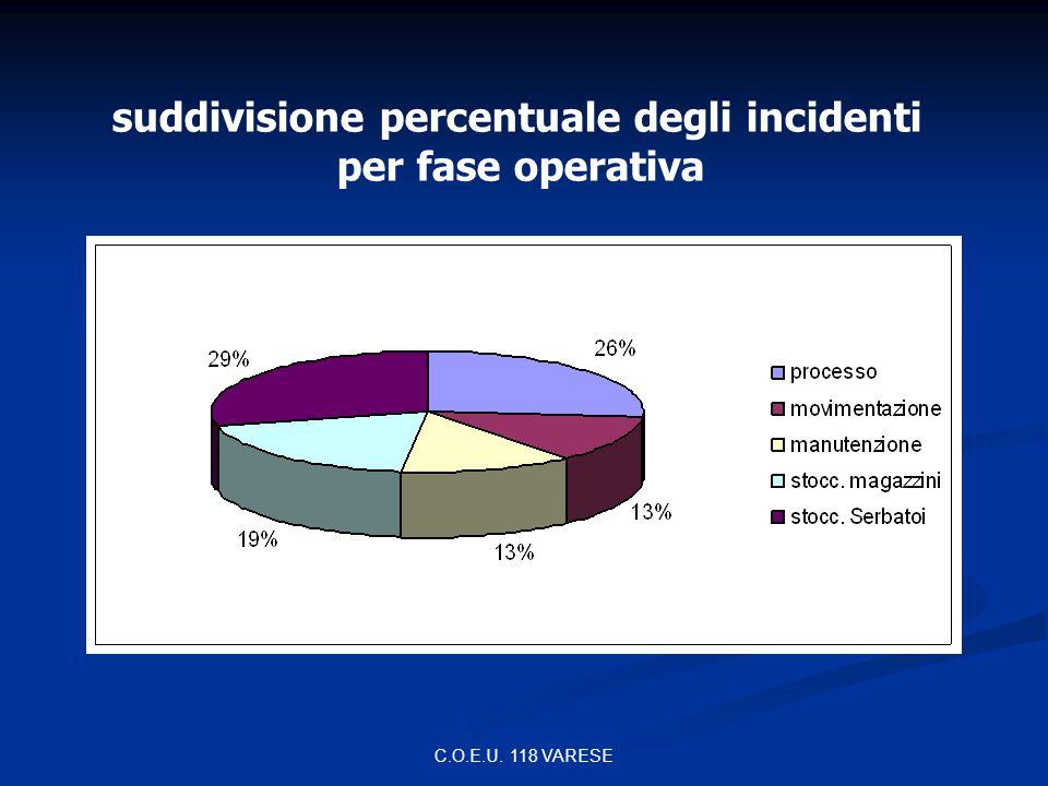 suddivisione percentuale degli incidenti
