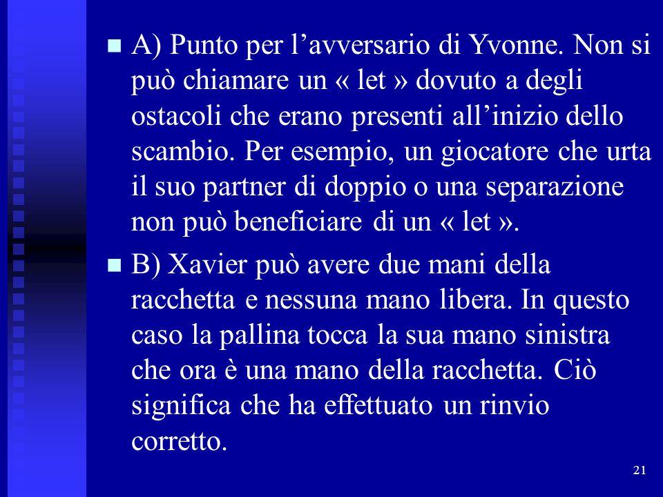 A) Punto per l'avversario di Yvonne