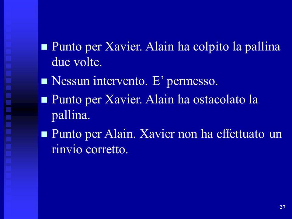 Punto per Xavier. Alain ha colpito la pallina due volte.