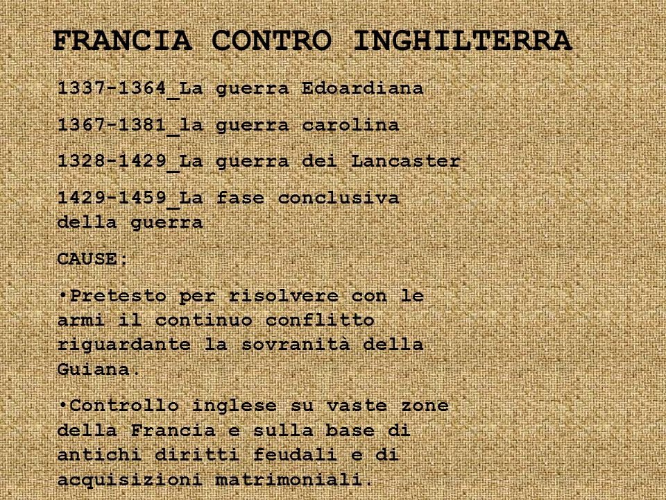 FRANCIA CONTRO INGHILTERRA