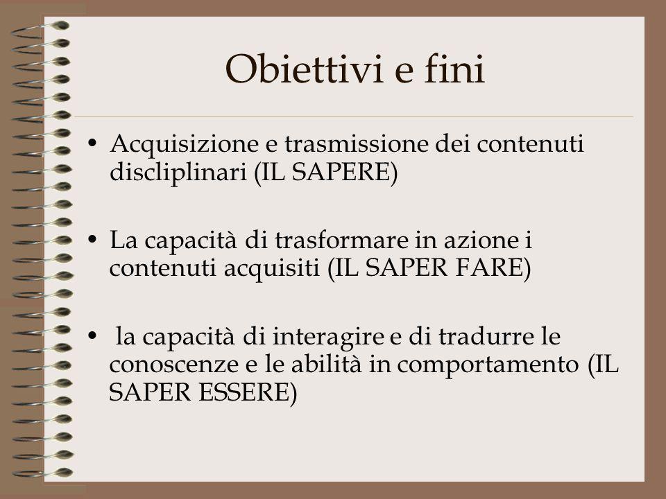 Obiettivi e fini Acquisizione e trasmissione dei contenuti discliplinari (IL SAPERE)