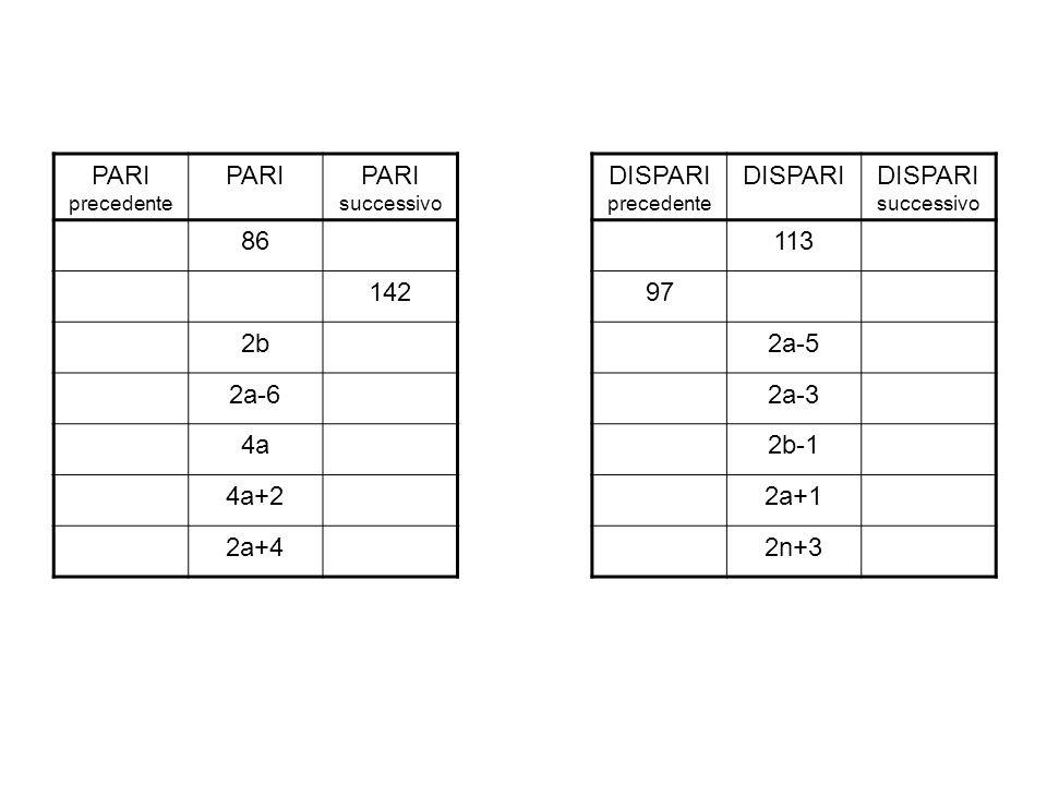 PARI DISPARI 86 113 142 97 2b 2a-5 2a-6 2a-3 4a 2b-1 4a+2 2a+1 2a+4