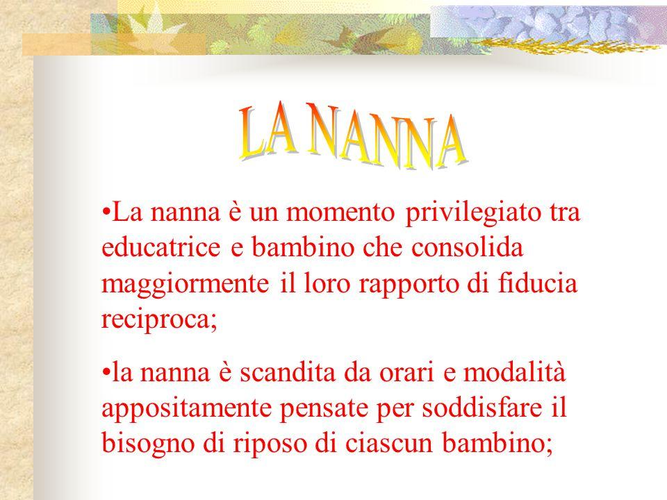 LA NANNA La nanna è un momento privilegiato tra educatrice e bambino che consolida maggiormente il loro rapporto di fiducia reciproca;