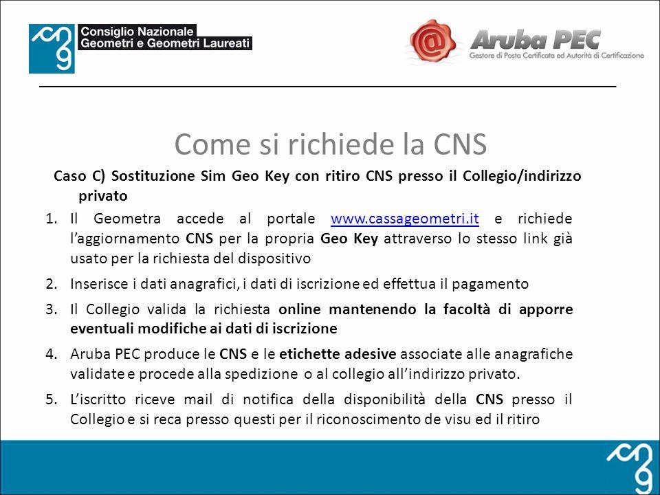 Come si richiede la CNS Caso C) Sostituzione Sim Geo Key con ritiro CNS presso il Collegio/indirizzo privato.